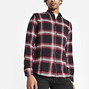 Only & Sons - Bordeauxrood geruit overhemd met lange mouwen