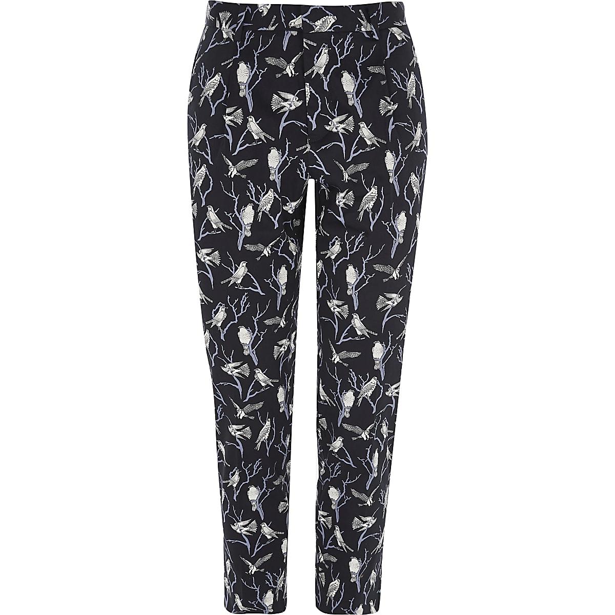 Jack & Jones Premium navy bird print trousers