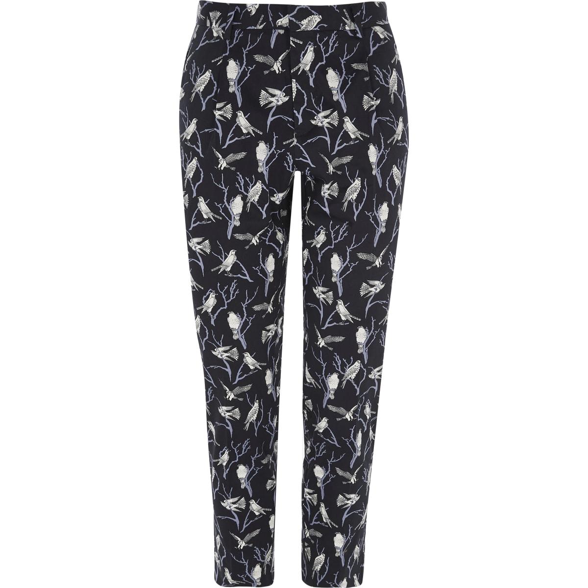 Jack & Jones Premium navy bird print pants