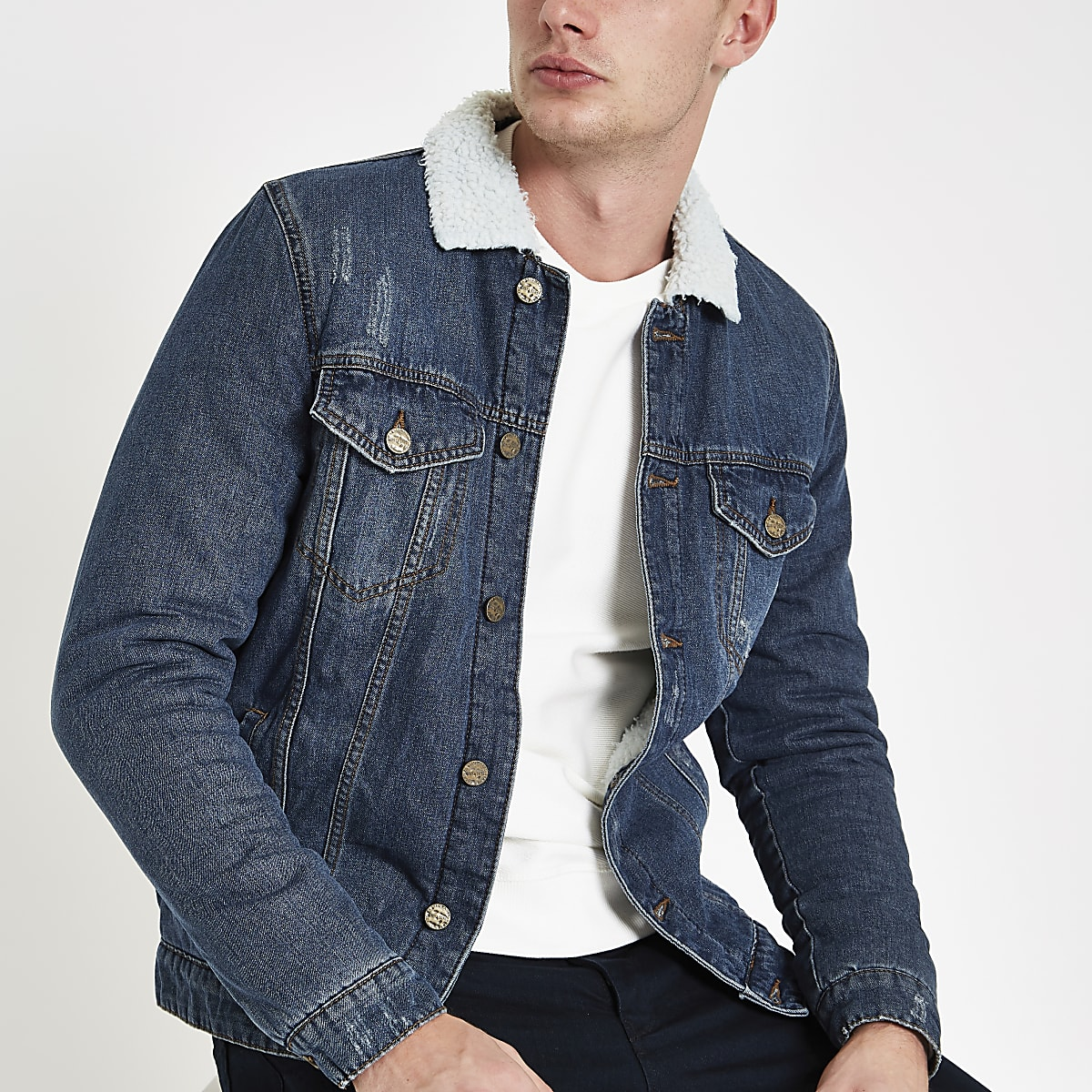 Only & Sons blue borg collar denim jacket