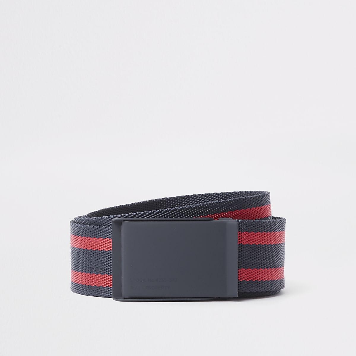 Navy textured stripe plate buckle belt