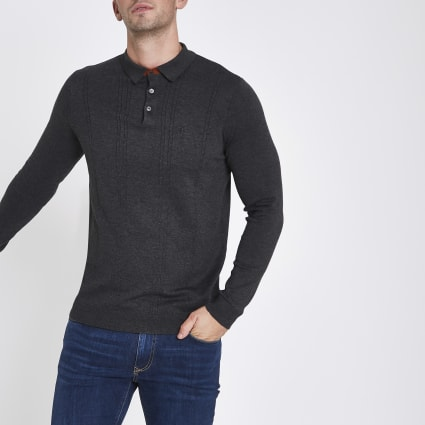 Dark grey cable long sleeve polo shirt