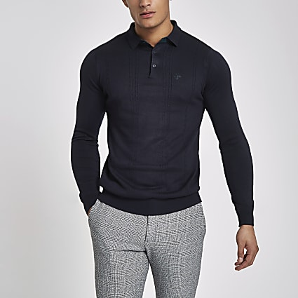 Navy cable slim fit long sleeve polo shirt