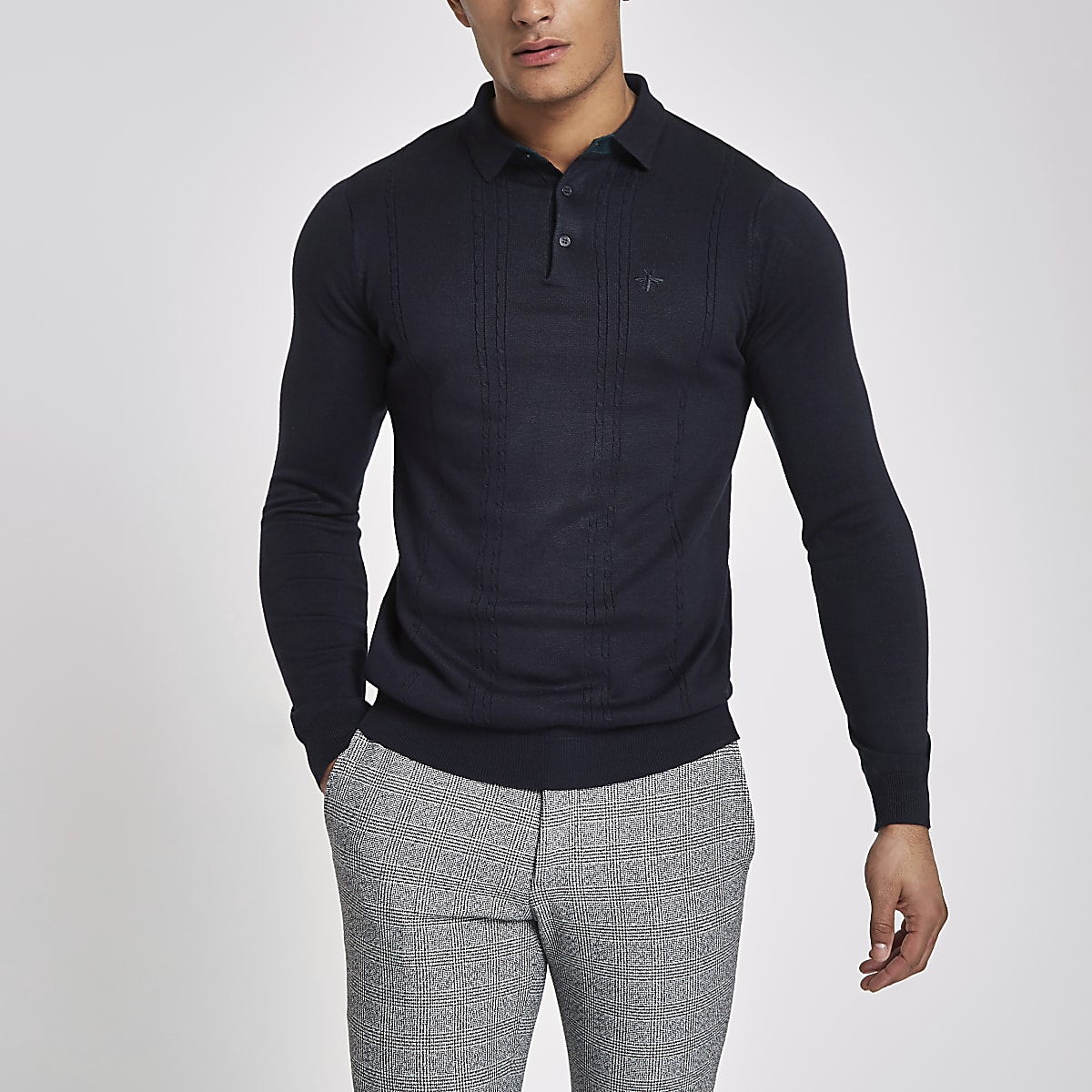 295a596f Navy cable slim fit long sleeve polo shirt - Polo Shirts - men