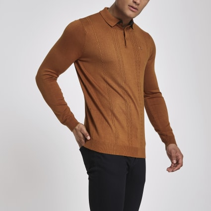 Brown cable slim fit long sleeve polo shirt