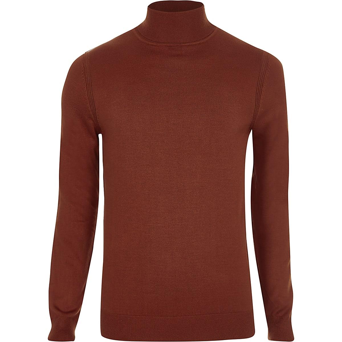 aeb70af7981e7f Orange roll neck slim fit jumper - Jumpers - Jumpers & Cardigans - men