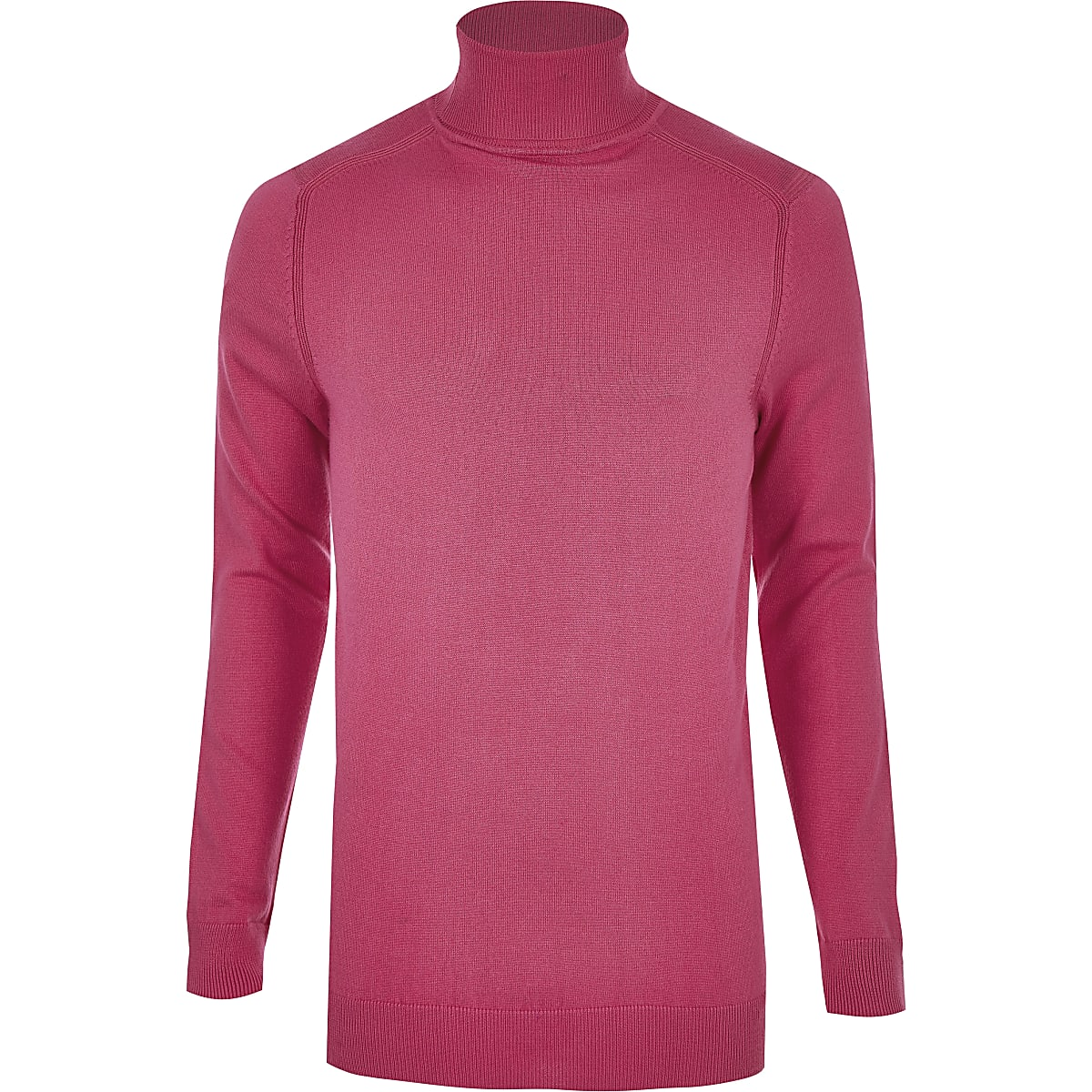 Bright pink slim fit roll neck jumper