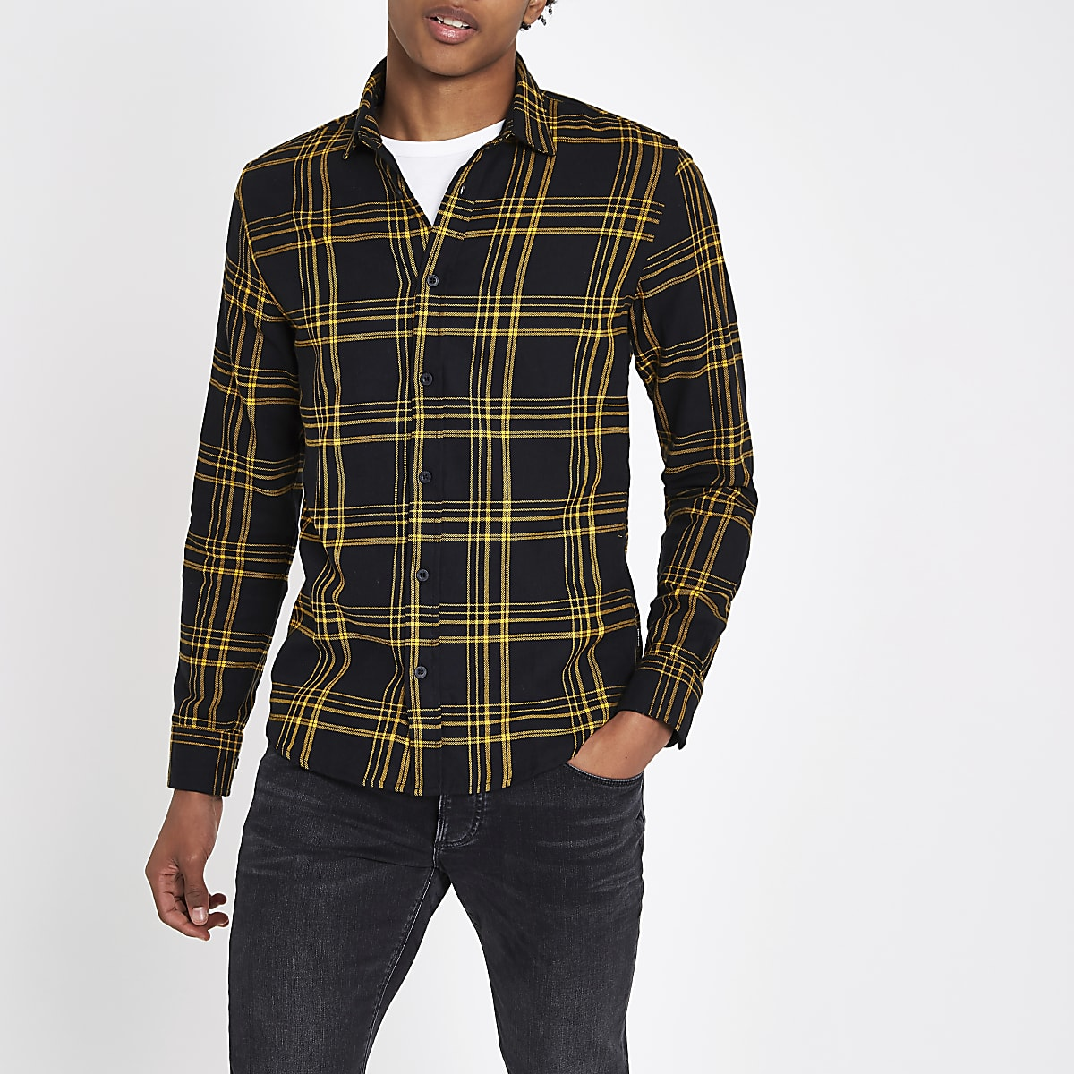 Only & Sons yellow check long sleeve shirt