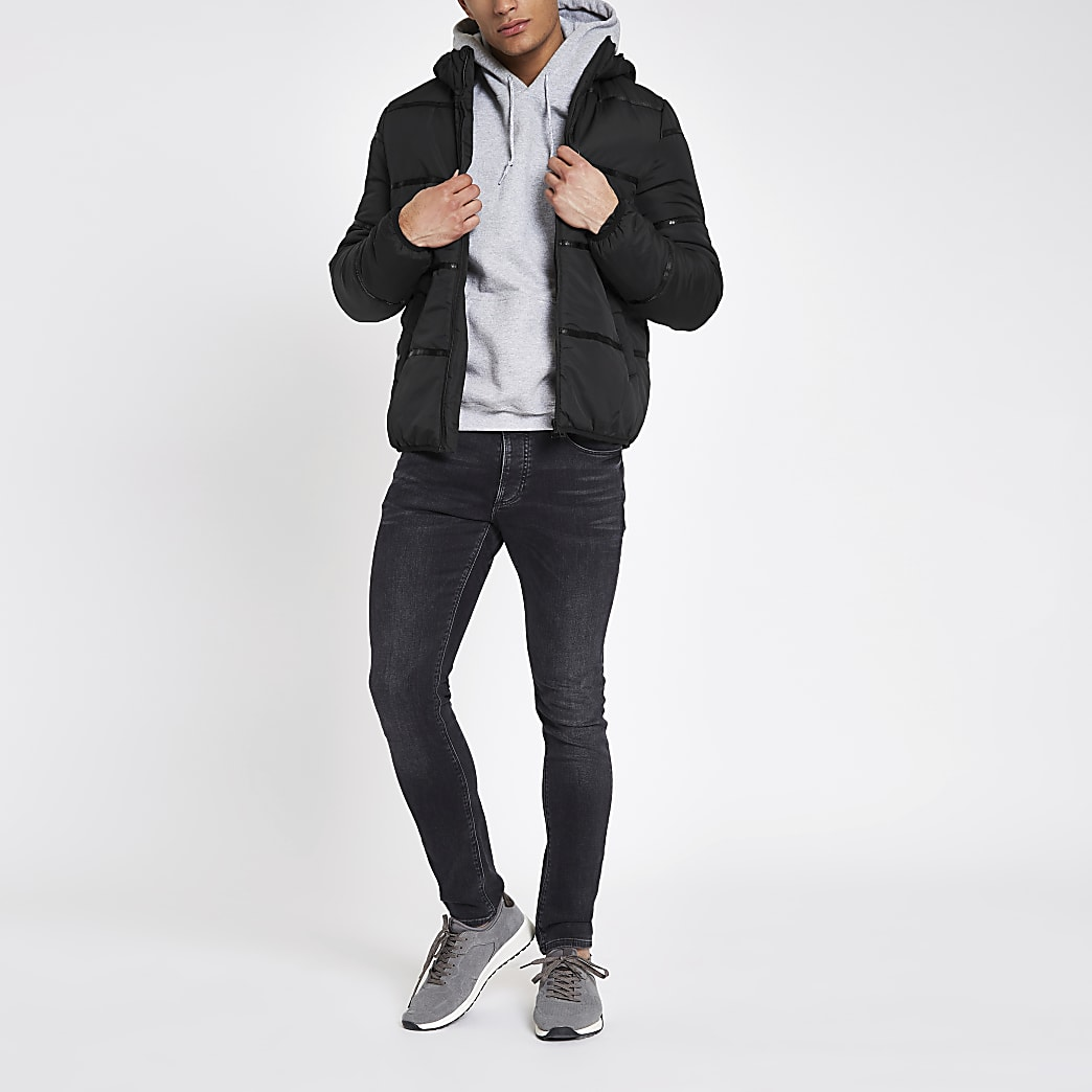 Only & Sons black hooded puffer jacket