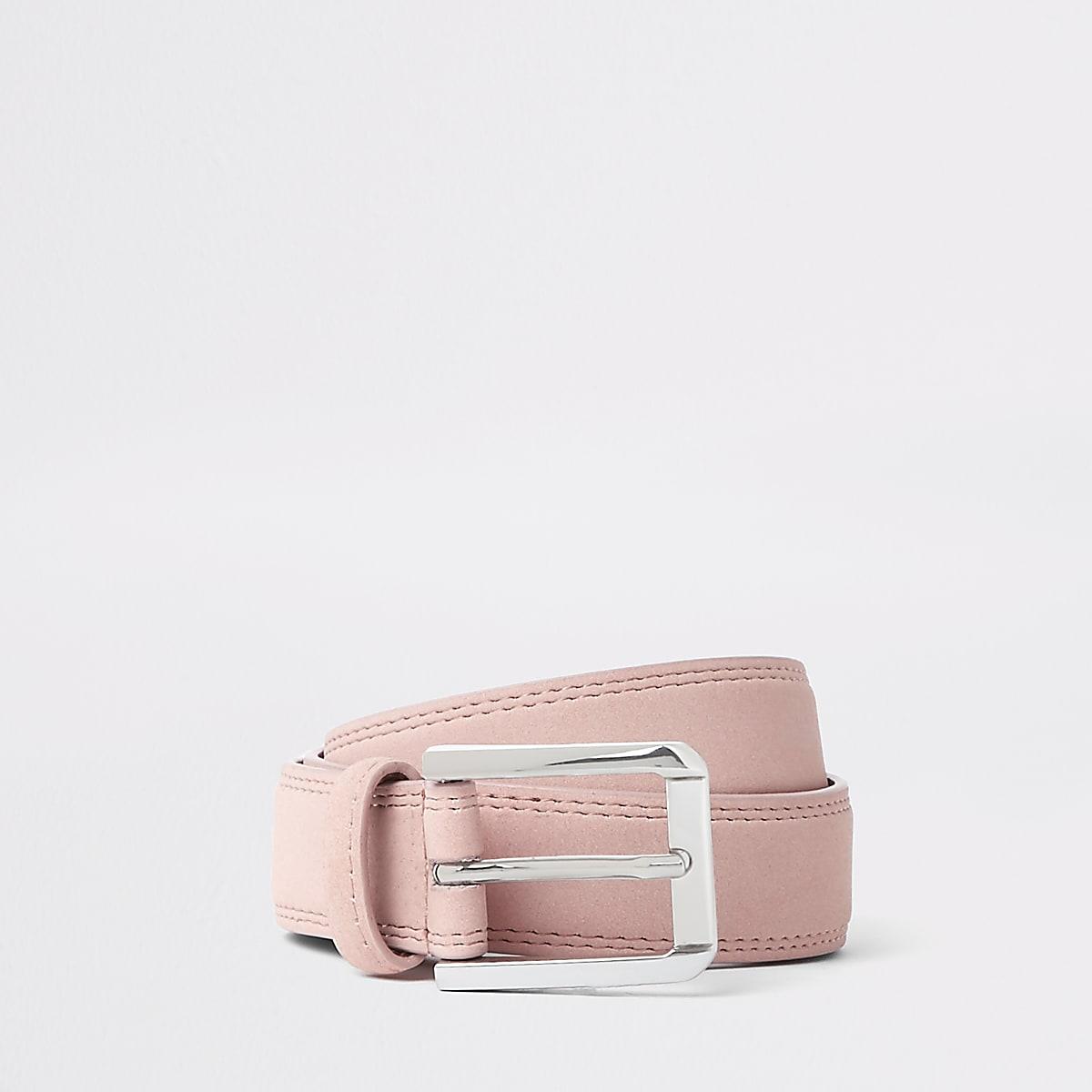 Pink suedette buckle belt
