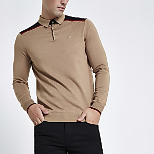 Light brown slim fit tape polo shirt