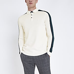 Ecru slim fit long sleeve knit polo shirt