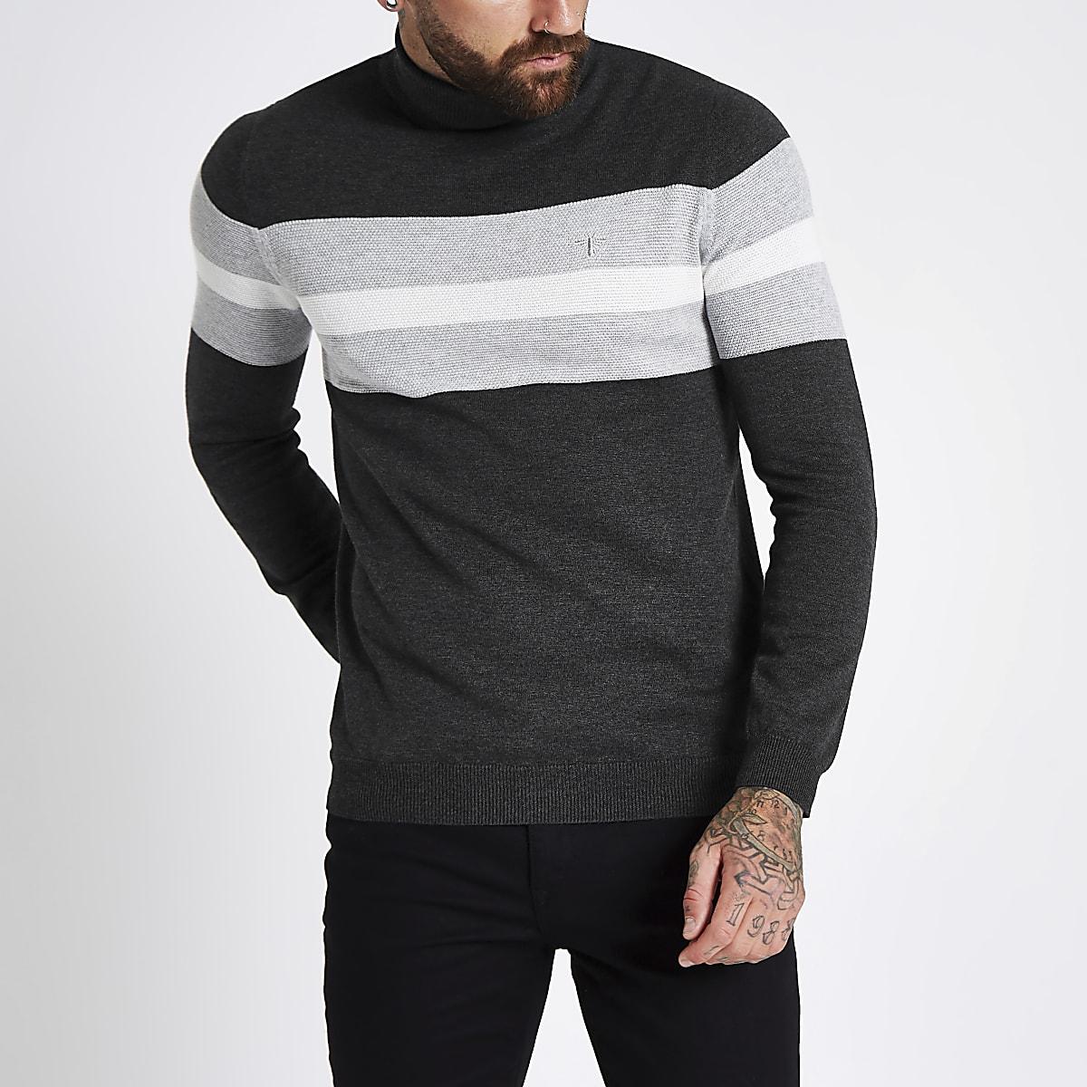 Grey block print roll neck slim fit jumper