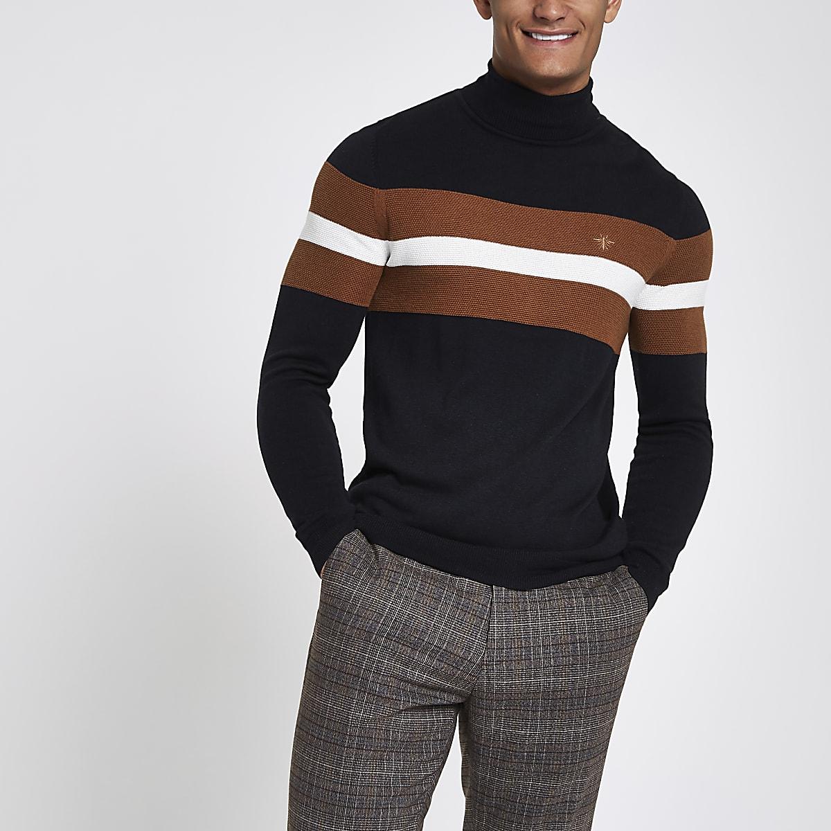 Navy block print roll neck slim fit jumper