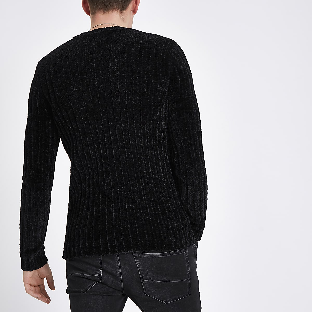 56b45aa4af1989 Black muscle fit chenille knit sweater - Sweaters - Sweaters ...