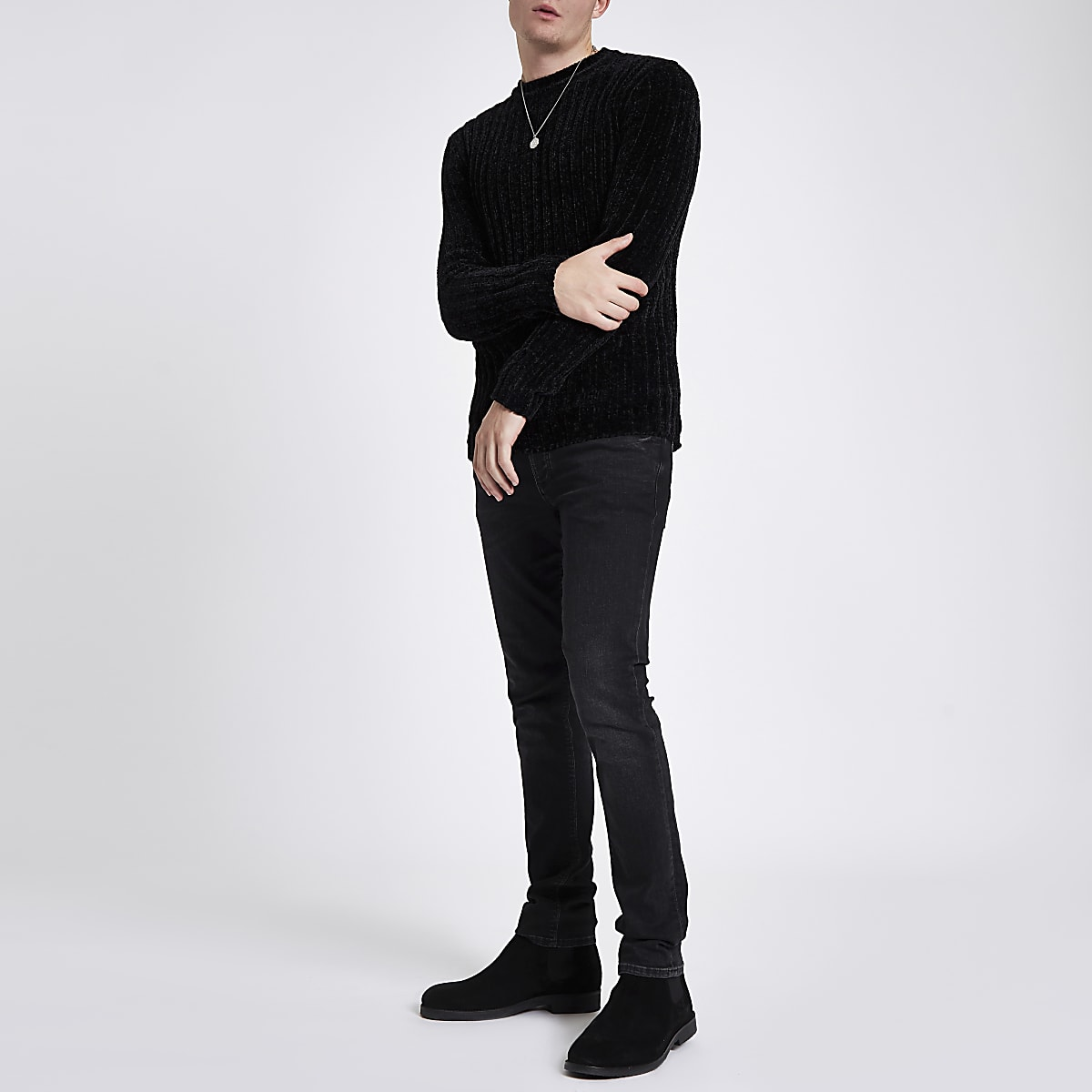 259a11023bacd5 Black muscle fit chenille knit sweater Black muscle fit chenille knit  sweater ...