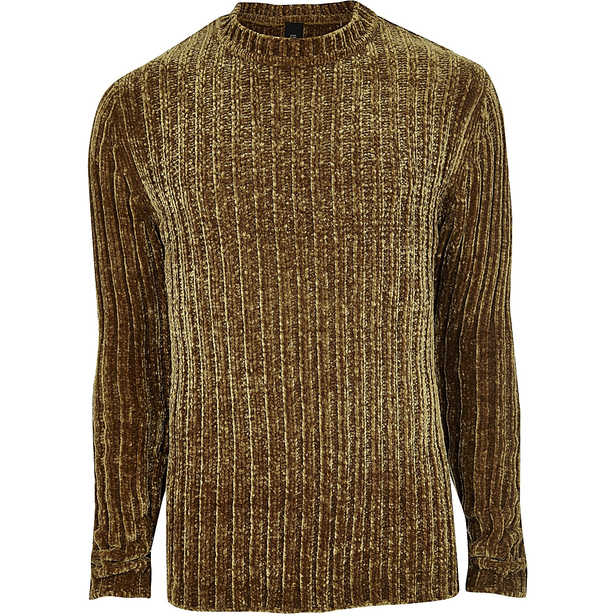 5c67a103b5e002 Brown muscle fit chenille knit sweater - Sweaters - Sweaters ...