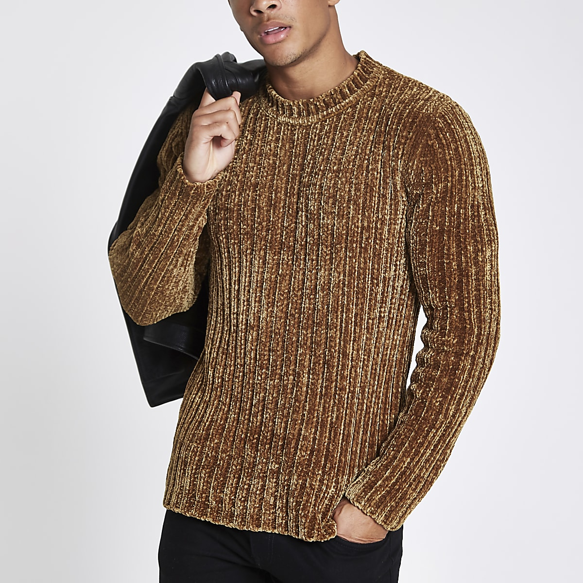 Brown muscle fit chenille knit jumper