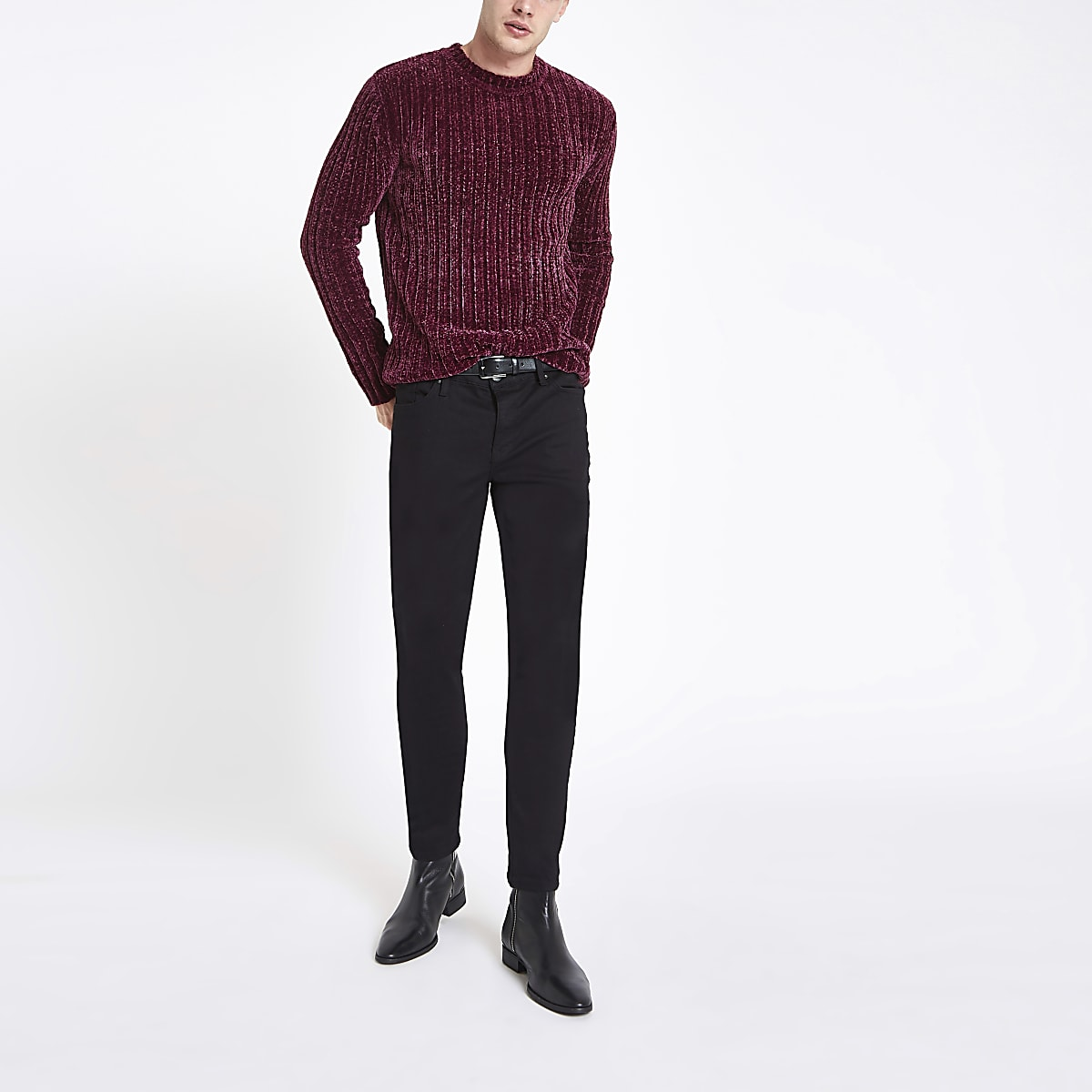 Dark red muscle chenille knit jumper