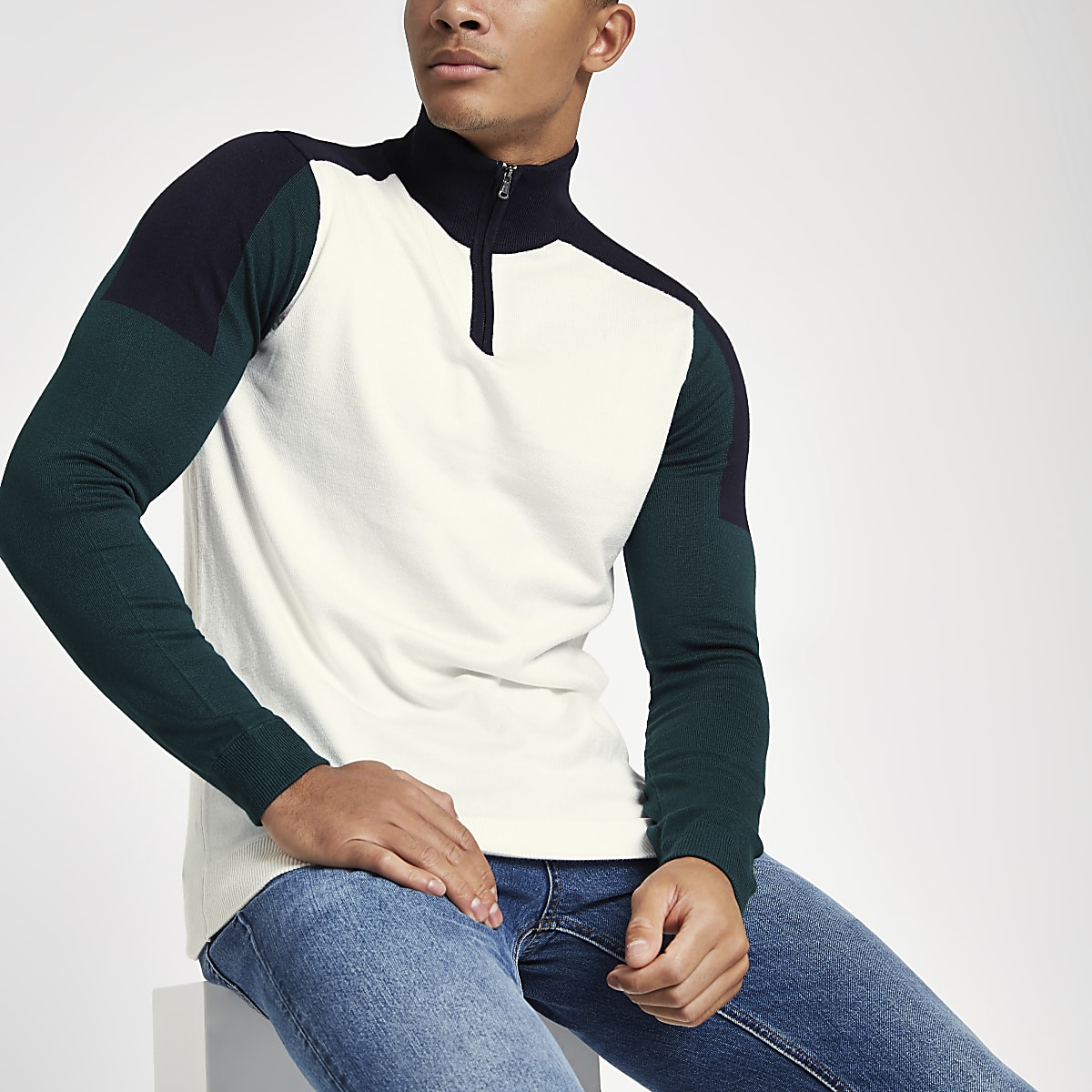 Ecru slim-fit sweatshirt met rits en opstaande kraag