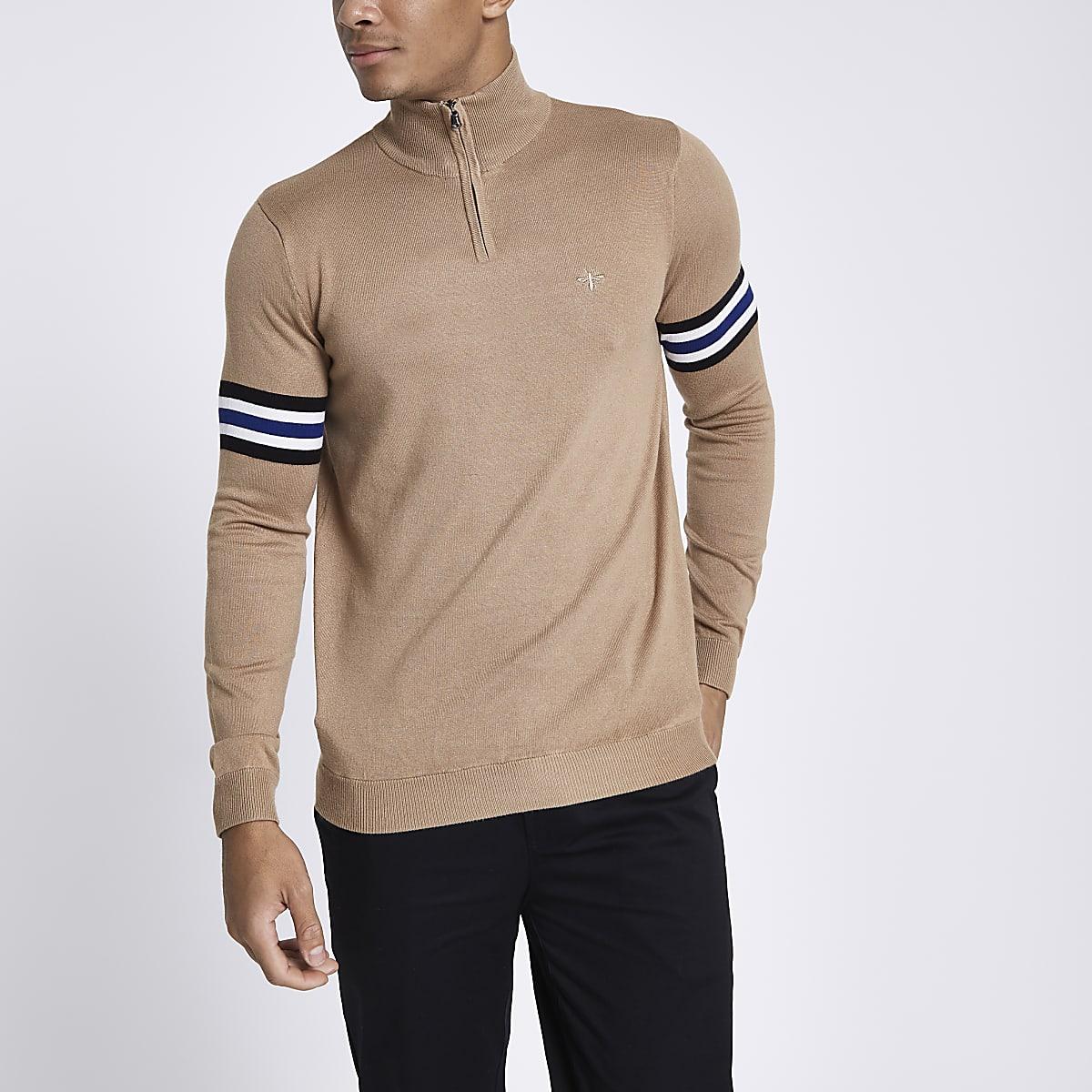 Bruine pullover met gestreepte mouwen, col en rits