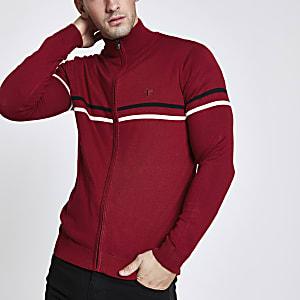 Red slim fit funnel neck zip up jumper
