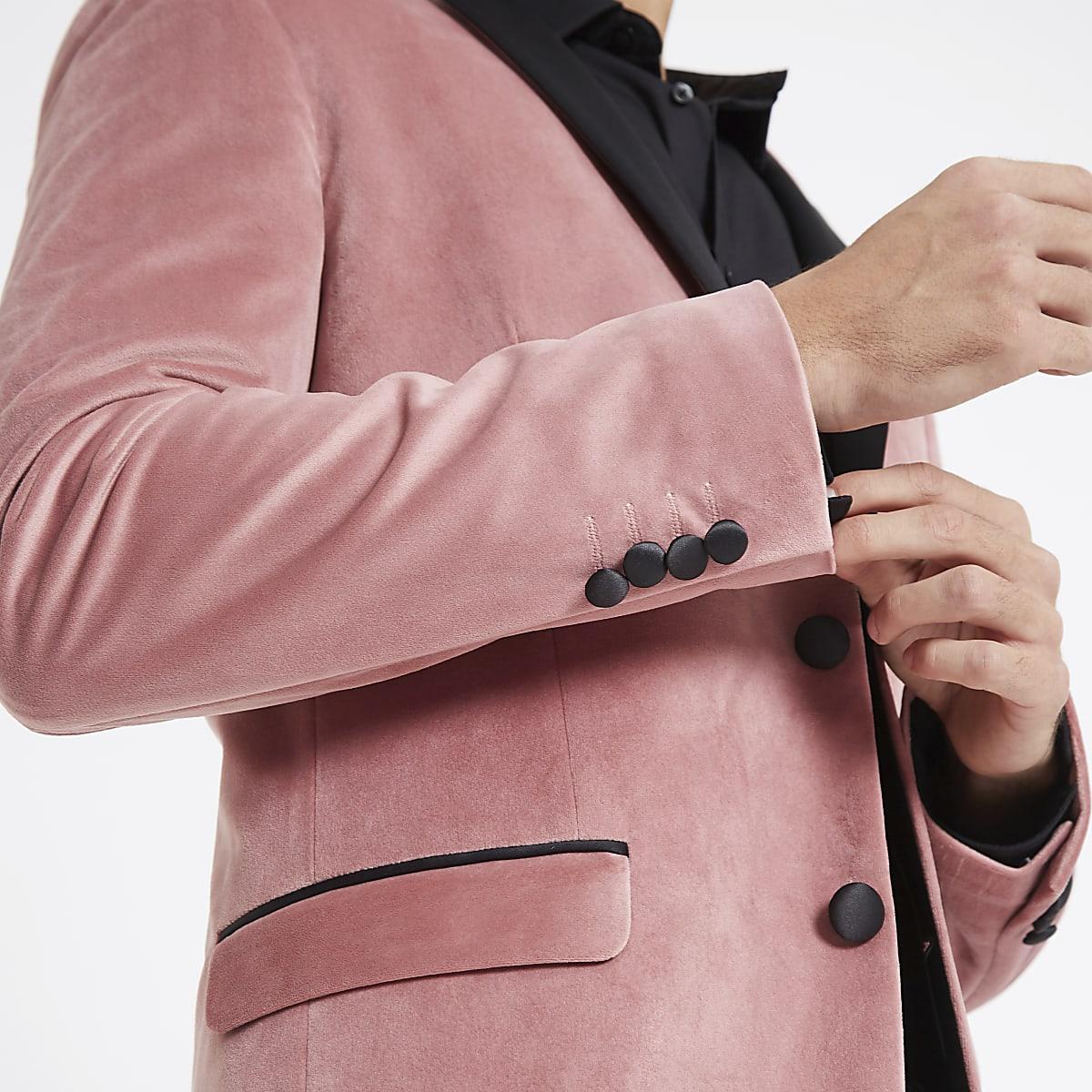 Pink velvet skinny fit long sleeve blazer