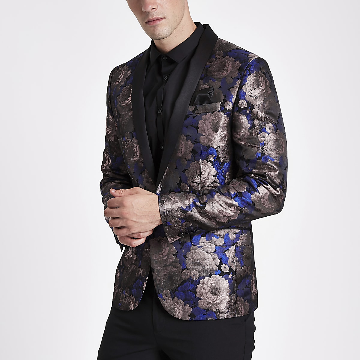 Purple floral print skinny fit blazer