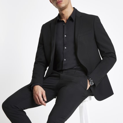 Black stretch skinny fit suit jacket