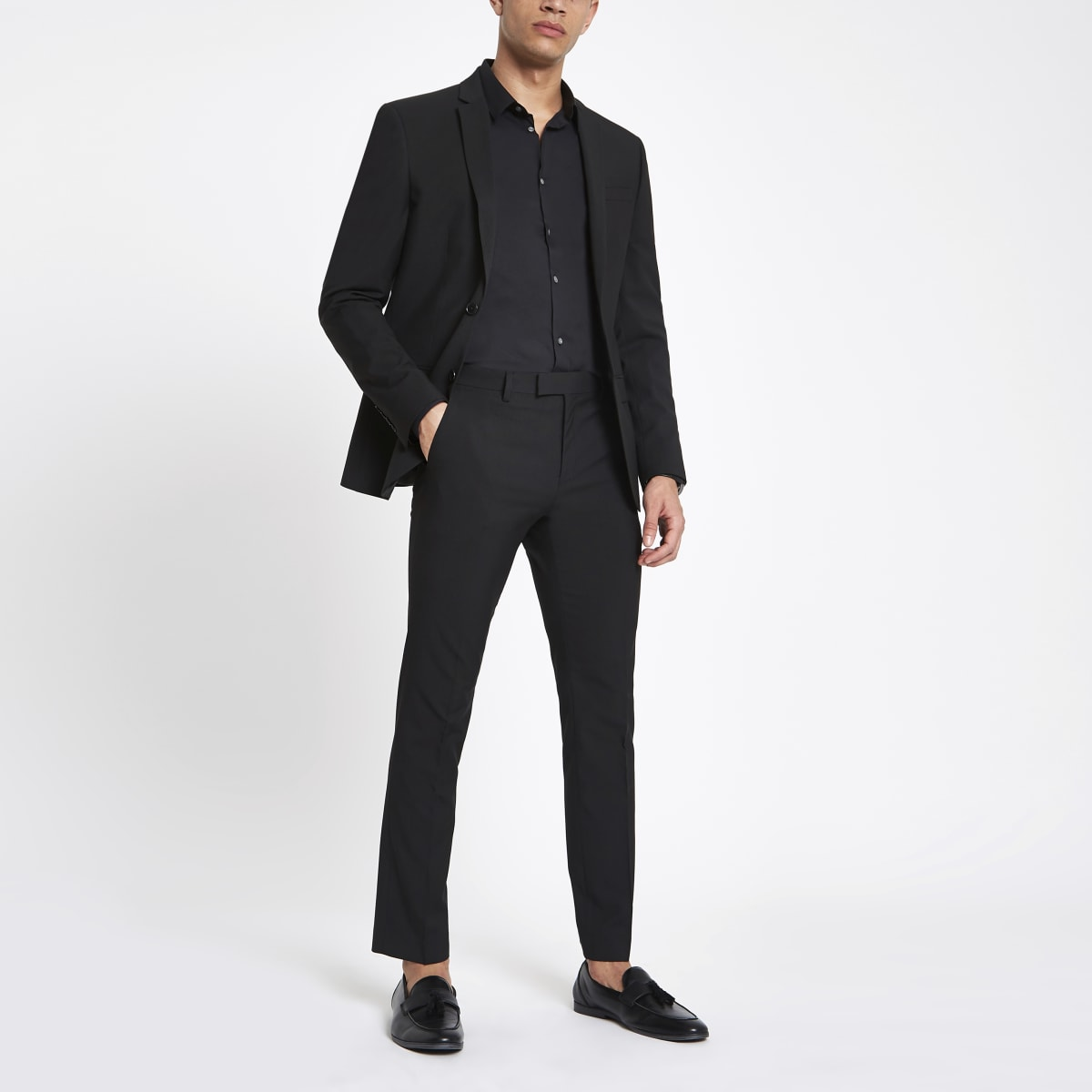 Black skinny suit pants
