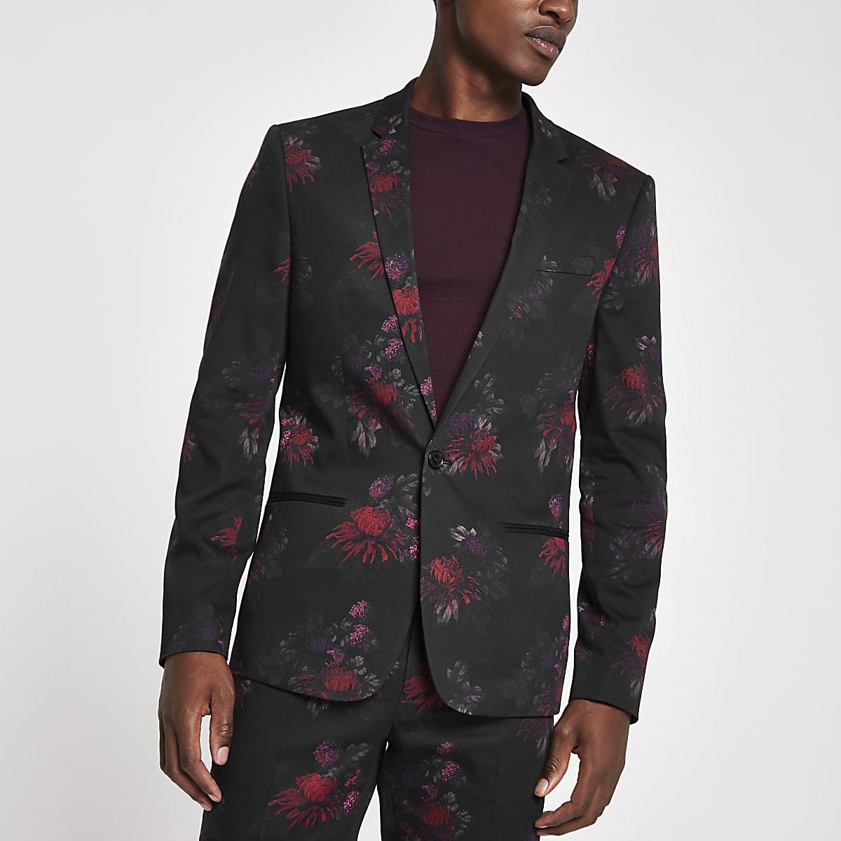 Veste de costume skinny à fleurs noire