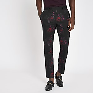 Black floral skinny suit pants