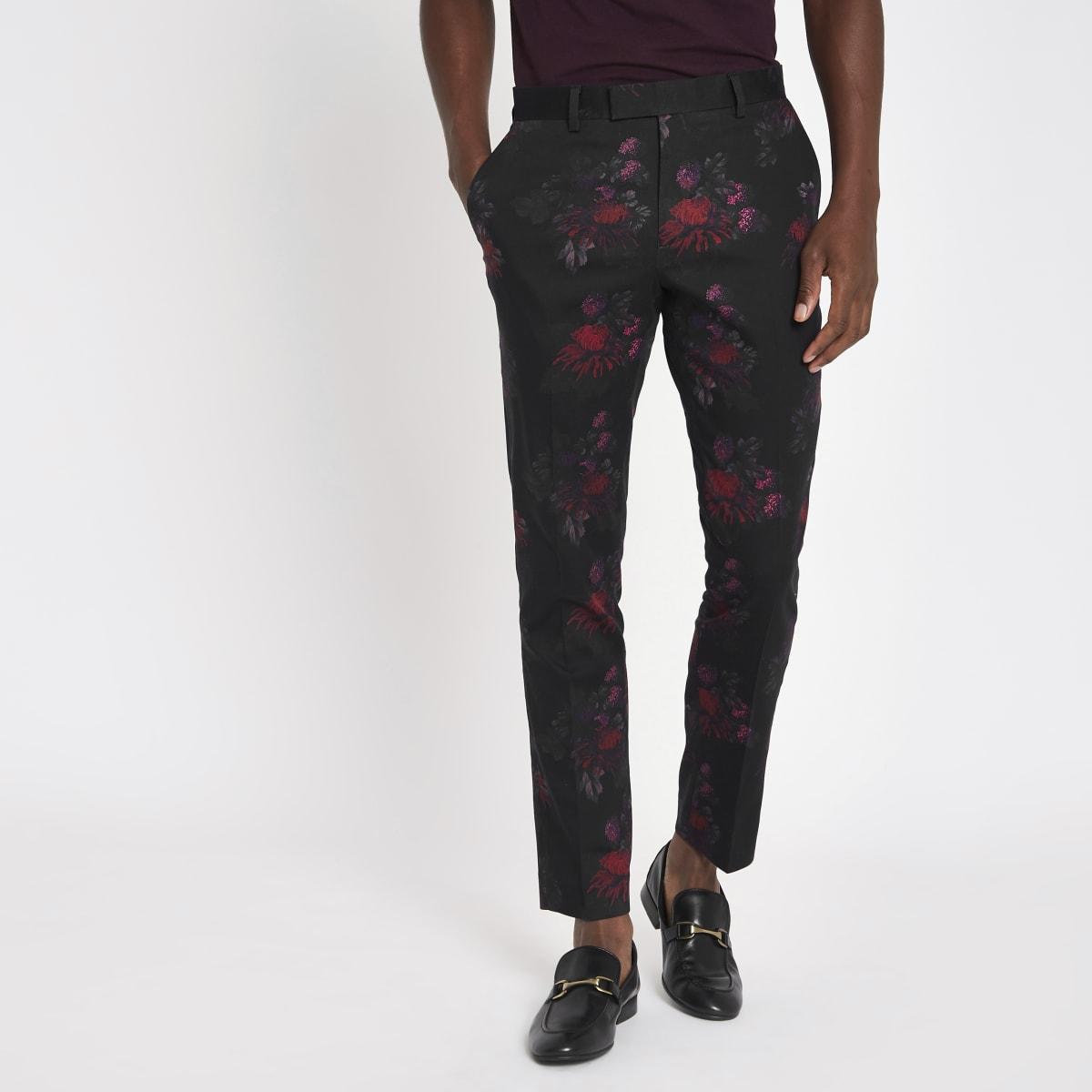 Pantalon de costume skinny à fleurs noir