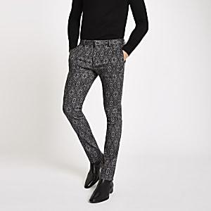 Black tile print super skinny smart pants