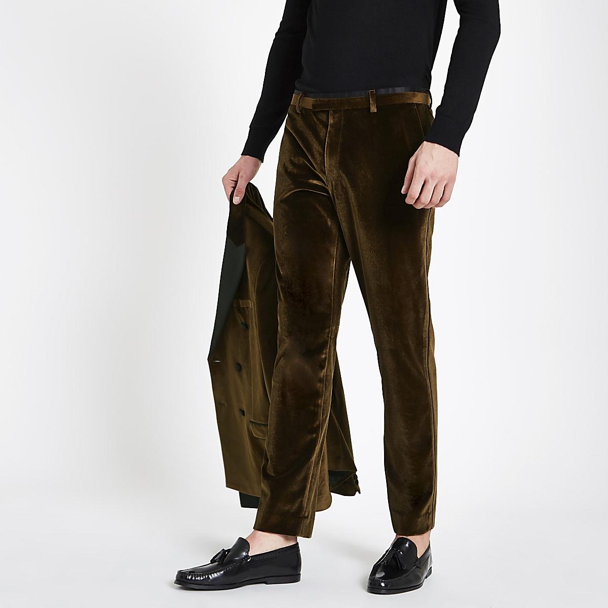 Gold velvet skinny suit pants