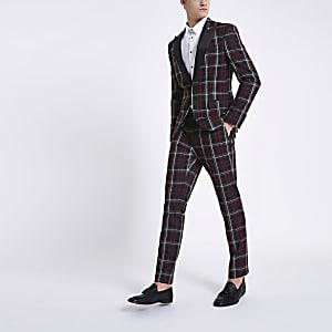 37d127bf06db Dark red check skinny suit jacket