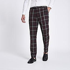 Pantalon de costume skinny à carreaux rouge foncé