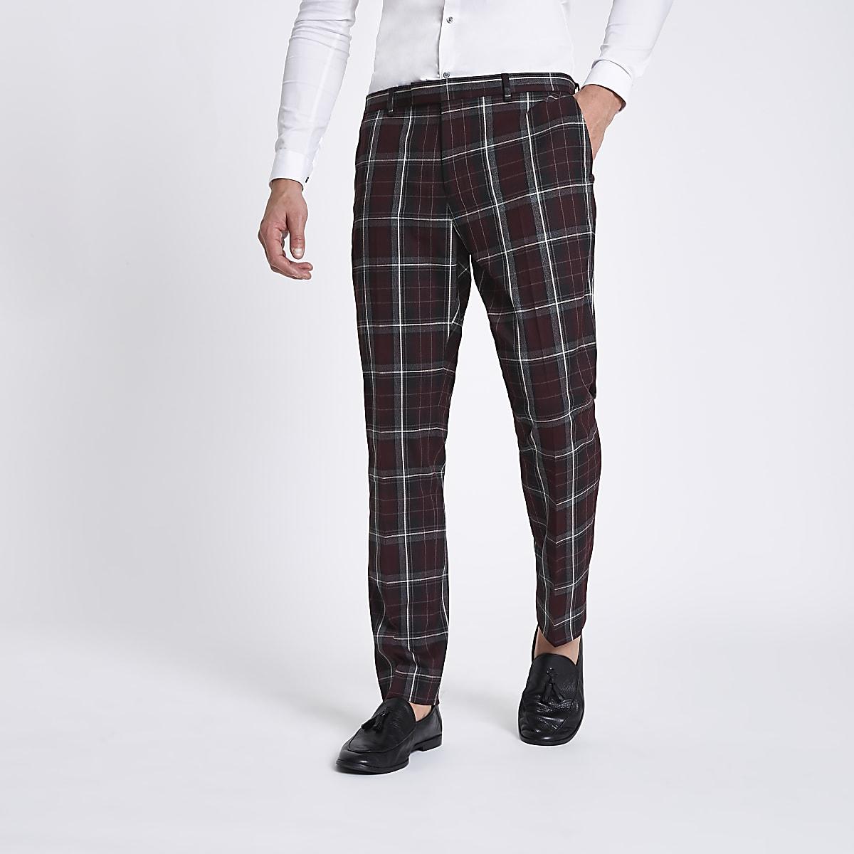 Dark red check skinny suit pants