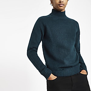 Only & Sons navy knit roll neck sweater