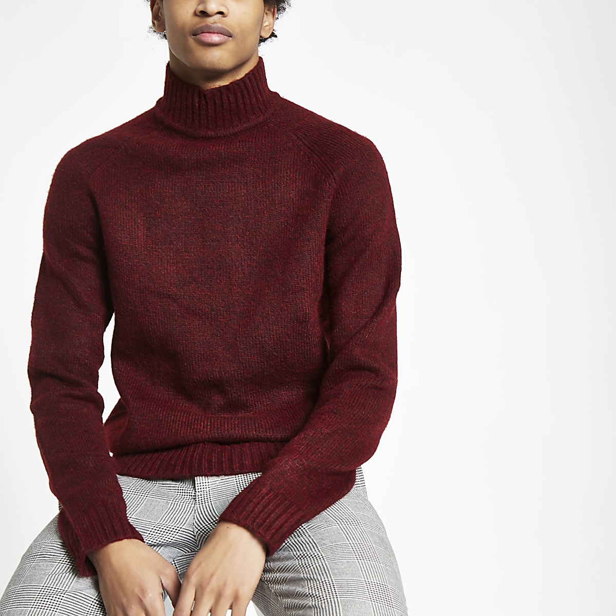 Only & Sons dark red knit high neck jumper