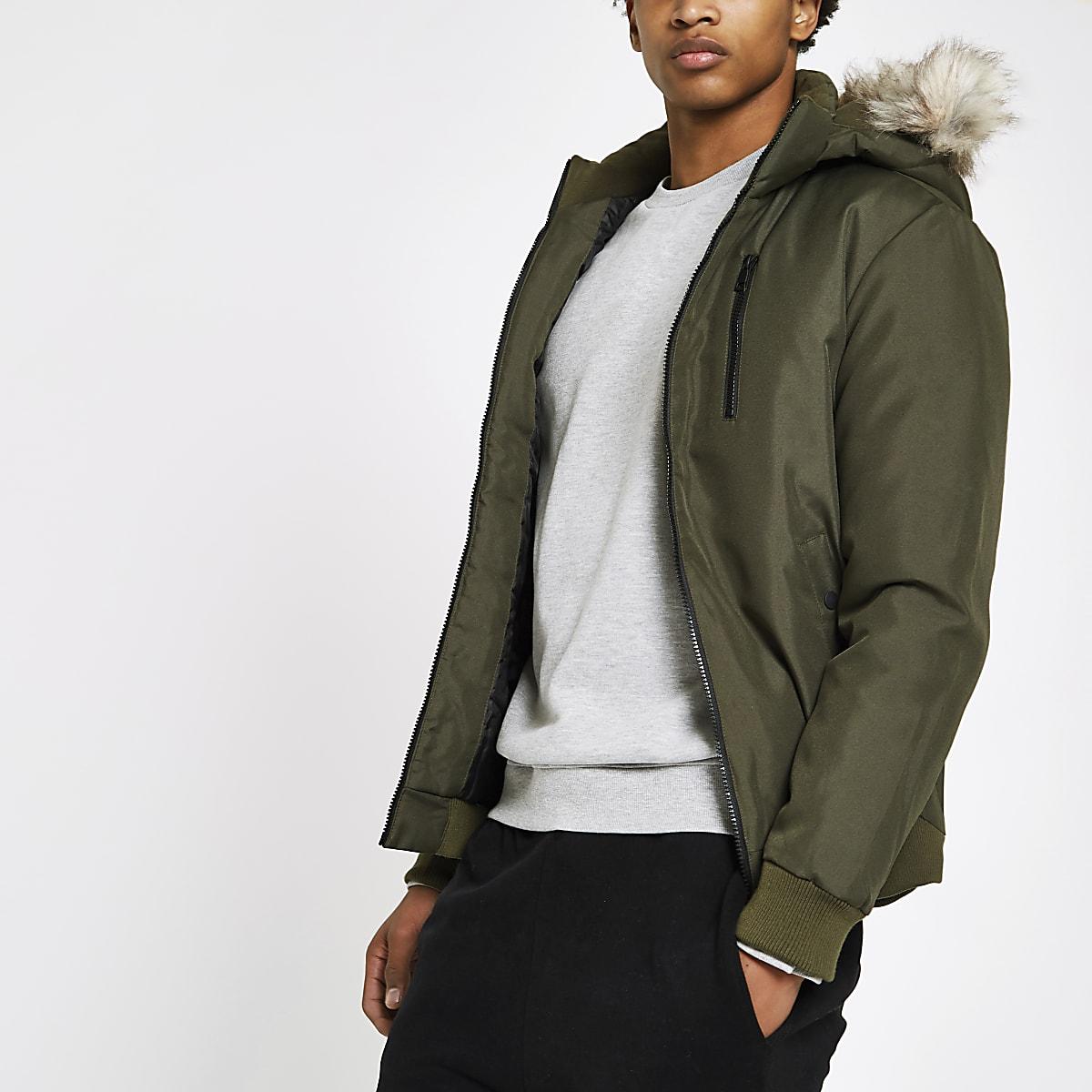 Only & Sons khaki faux fur trim coat