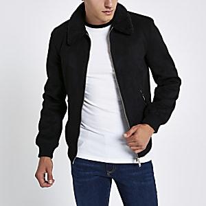 Veste en suédine noire avec col imitation peau de mouton