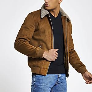Veste en suédine marron clair avec col en peau de mouton