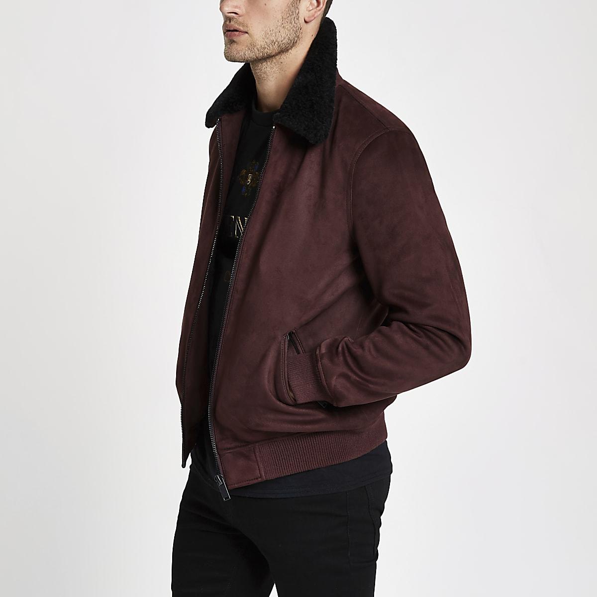 Dark red faux suede borg collar jacket