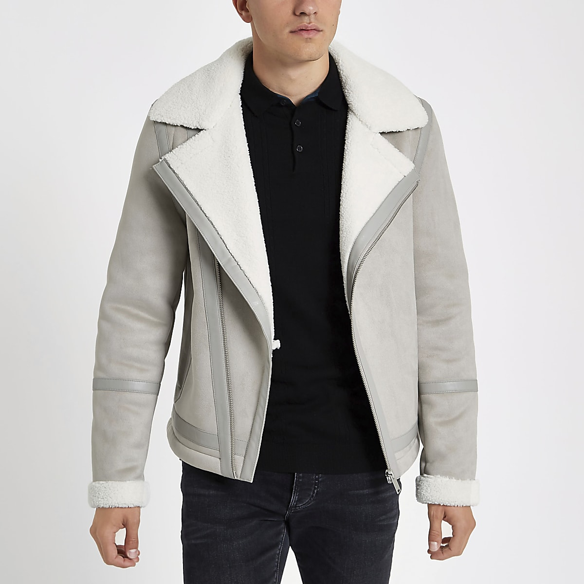 Grey borg lined biker jacket