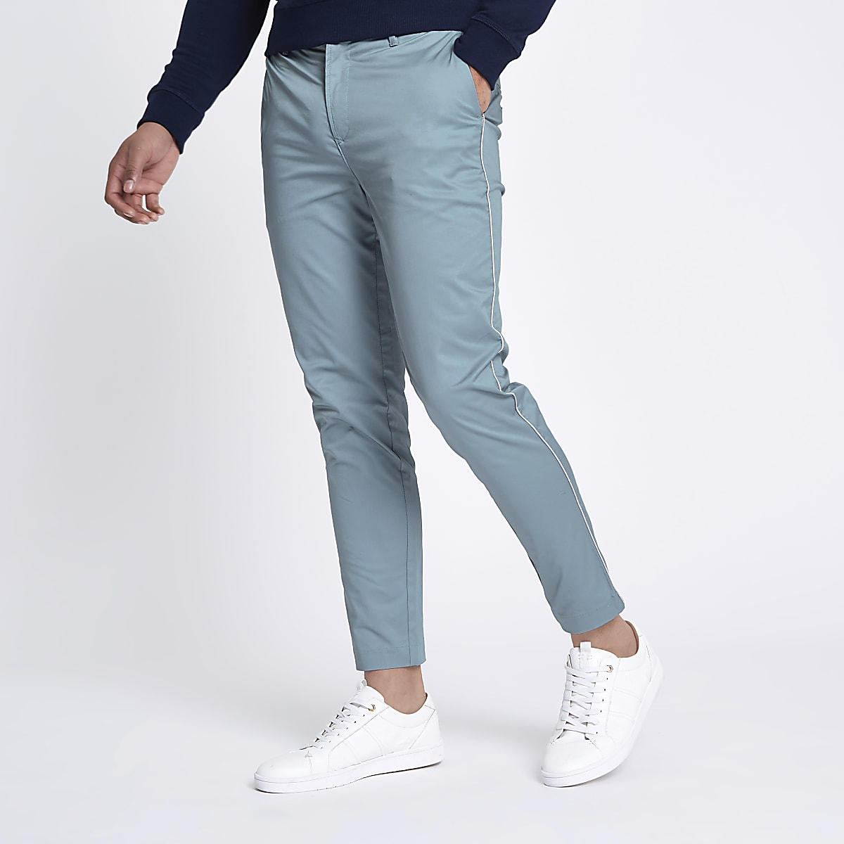 Light blue pipe skinny fit chino trousers