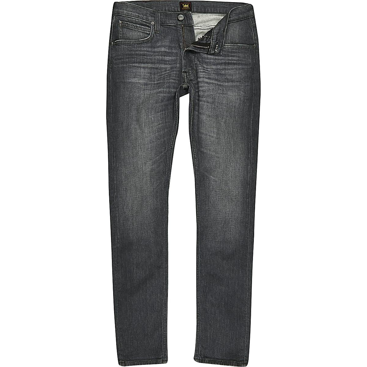 Lee - Luke - Grijze slim-fit smaltoelopende jeans