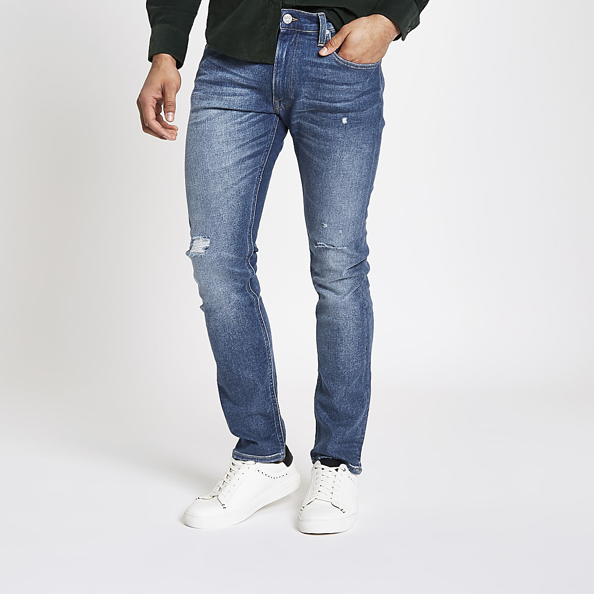 Lee - Luke - Blauwe ripped smaltoelopende slim-fit jeans
