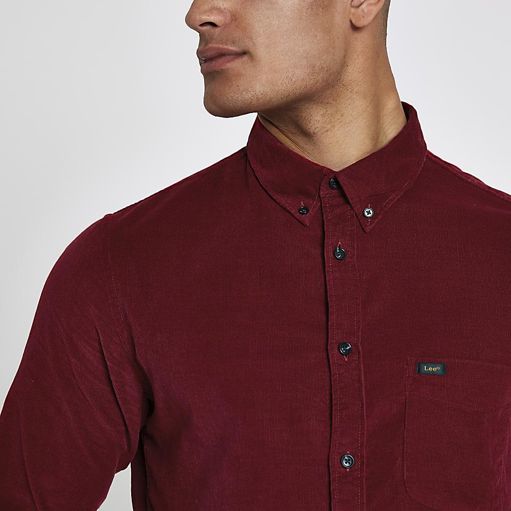 Lee - Rood corduroy overhemd met lange mouwen
