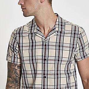 Ecru check print revere shirt